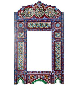 Moroccan farmhouse Red &Blue hanging mirror frame, decor of wood, hand-painted