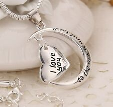 """I love you to the moon and back "" Silver Plated Heart Pendant Necklace 18""+2"""