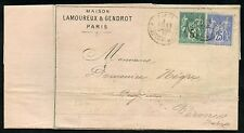 FRANCE PARIS COVER  AVRIL 11, 1877  5  + 25 CENTIMES PERF STAMPS TO VERONICA