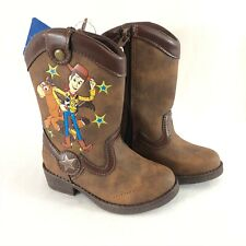 Toy Story Toddler Boys Western Boots Faux Leather Slip On Woody Brown Size 6