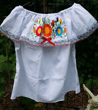 Campesina Mexican Blouse Shirt White Ruffled Off Shoulder Floral Embroidered G18