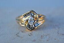 ESTATE 14K YELLOW GOLD LEO SCHACHTER DIAMOND ENGAGEMENT RING-SIZE 8.75-1/2CTW
