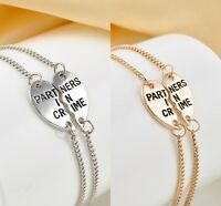 (2 PC) Lux Accessories Partners in Crime BFF Best Friends Heart Charm Bracelets