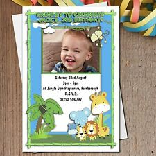 10 Personalised JUNGLE Animals 1st 2nd 3rd 4th Birthday Party Invitations N188