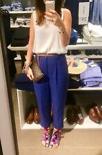ZARA BLUE ANKLE CROPPED TROUSERS HIGH WAIST XS 6 8 VINTAGE LOOK PANTS CULOTTES