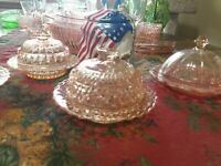 Holiday Buttons and Bows Covered Butter Dish  Pink butterdish