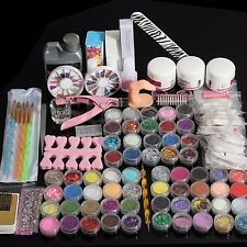 Full 60 Acrylic Powder Glitter Liquid Nail Art Tools Kits Set Tips Brush Glue