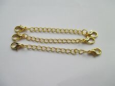 UK 3 x Double Clasp Gold Extension Necklace Bracelet  Jewellery Extender Chain