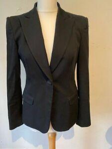 Moschino Jeans Vintage Black Sequin Trim Cotton Fitted Jacket Blazer UK 12