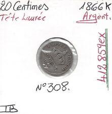 20 CENT NAPOLEON III Tête Laurée - 1866K - Monnaie en Argent // Qualité: TB