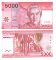 CHILE Polymer UNC 5000 Pesos Banknote (2014) P-163e Paper Money