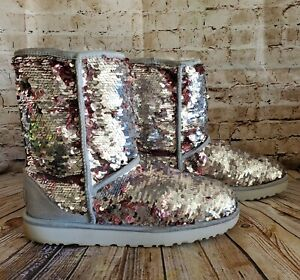 UGG Australia Classic Short Sequin Cosmos  Flip  Boots Silver/Pink Size 11