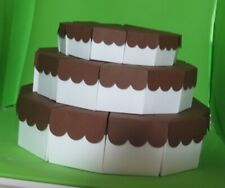 """3 Tier Scallop Top Cake Slice Centerpiece 8 1/2"""" and 10 10/16""""- 36 Favor Boxes"""
