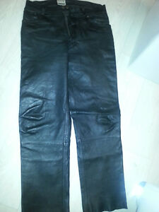 men's leather trousers for motor cycling - black