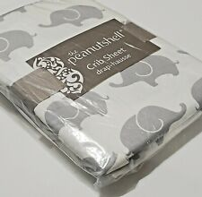 The Peanutshell Crib Sheet Elephant Print 100% Cotton Sateen Fitted New