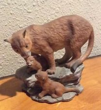 1994 Mountain Lion & Cubs Figurine Home Interiors Endangered Species Homco Vtg