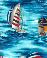 Yachts - Boat Racing - Sailing-Ocean - Sea -Timeless Treasures- Fabric -1/2 Yard