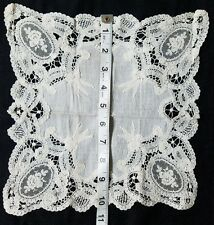 Vintage Wedding Hanky Brussels Lace Rose Floral Hankies Bridal Schiffli  A12