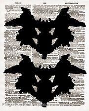 Ink Blot Art Print 8 x 10 - Dictionary Page - Rorschach Test - Psychology