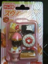 Genuine HAPA Erasers Pack of 6 With Tray DELICIOUS FOOD & DESSERTS! NIP Look!
