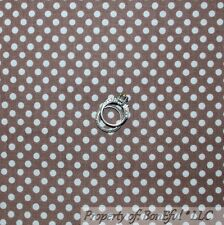 BonEful Fabric FQ Cotton Quilt Brown Cream Off White Natural Polka Dot Stripe NR