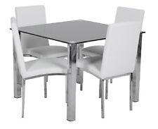 Kia 5 Piece Faux Leather Black 1000x1000 Square Glass Dining Set - BRAND NEW