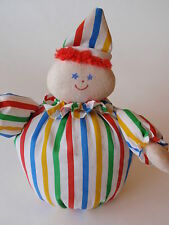 Vintage Eden Stuffed Clown Roly Poly Nursery Bell Toy Primary Stripes Retro Baby