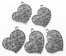 5 Antique silver plated filigree heart charms