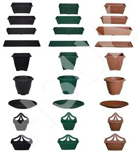 Plastic Window Box Planter Plant Pot OR Saucer Water Base Drip Tray Garden Patio
