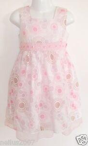 Girls Summer Party Pink Cotton Sleeveless Dress Age 5 Circle Design