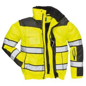 Portwest C466 HiVis Classic Bomber Jacket Waterproof Workwear Detachable Sleeves