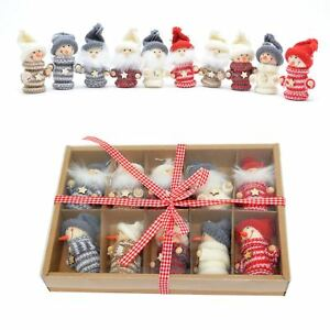 Christmas Tree Hanging Decorations Wall Handmade Knitted Tiny Xmas Gift Box Set