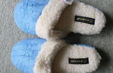 Hausschuhe Hüttenschuhe Puschen Pantoffeln warm Kunstpelz Blau Blüte Gr.38 NEU