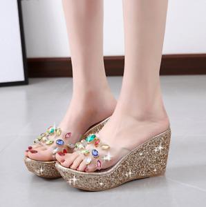Womens Rhinestone Platform High Wedge Heel Slippers Shoes Mules Sandals summer d