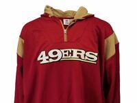 San Francisco 49ers NFL Men's Red Hooded 1/4 Zip Fleece Jacket Big & Tall, nwt