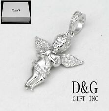 DG Women's 925 Sterling Silver,Angel Prayer Iced-Out,CZ Mini Pendant.Unisex**Box