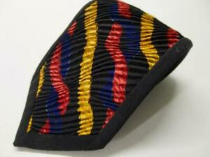 Stunning VITALIANO PANCALDI for D. FINE pleated red gold blue black tie Wow! C70