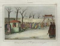 Archery Contest Chinese Imperial Court Emperor 1835 engraved print hand color