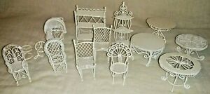 Vintage Metal Wire Wicker Miniature Doll House Furniture Chairs Tables Shelves