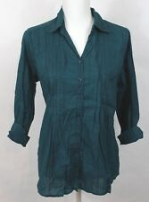 Christopher & Banks Womens Blouse Green Pintuck Button Up V-Neck Size Small