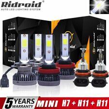 Combo LED Headlight H7+H11+H11 High Low Beam+Fog Light Bulbs 3 Sets 6000K White