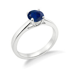 1.00 CTW Round Blue Sapphire 14k White Gold Finish Engagement Wedding Ring  5 6