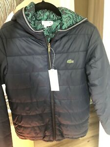 New With Tag Lacoste Boys Quilted Jacket, Reversible, Size 14