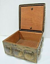 Old Hammered Brass Box patina wood lined and bottom hinged lid trinket humidor