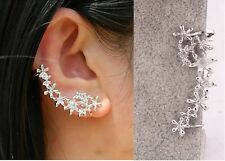 1PC Hot White Saphire Silver flower Ear Cuff Clip on Stud Earring