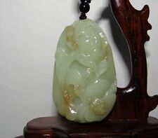 "2.3""China Certified Nature Hetian Nephrite Jade Wealth Lotus and Bat Pendants"
