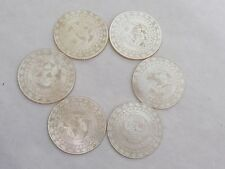 Fab antique 6 chinois Round Carved Mother of Pearl GAMING compteurs Chips Tokens