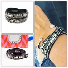 Stella & Dot Cady Wrap Bracelet Black Silver Beads Leather New in Box