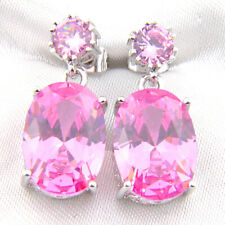 Gorgeou Retro Jewelry Pink Kunzite Gems Silver Cz Stud Dangle Earrings