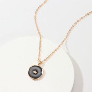 Women Long Simple Kc Gold Oil Drop Black Stars Round Pendant Necklace Jewelry